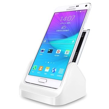 Samsung Galaxy Note 4 Bureauhouder 2 in 1 Wit