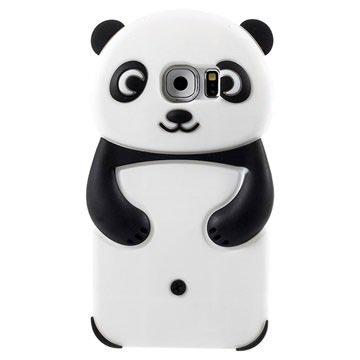 Samsung Galaxy S6 3D Panda Siliconen Hoesje Zwart / Wit