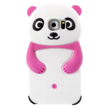 Samsung Galaxy S6 3D Panda Siliconen Hoesje Hot Pink / Wit