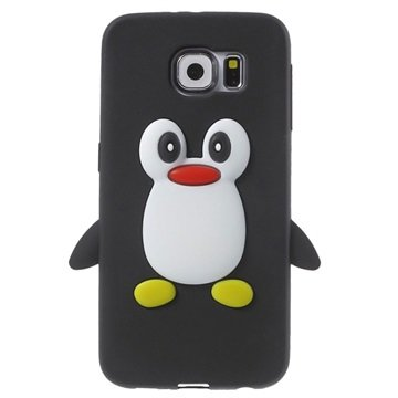 Samsung Galaxy S6 3D Penguin Siliconen Hoesje Zwart