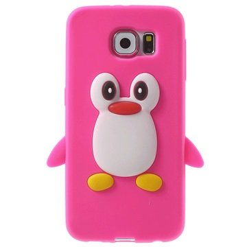 Samsung Galaxy S6 3D Penguin Siliconen Hoesje Hot Pink