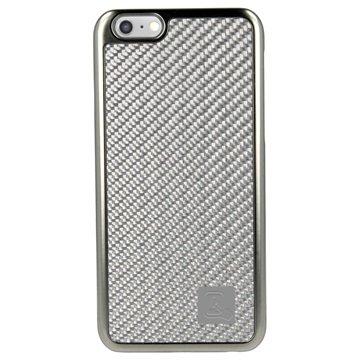 iPhone 6 Plus / 6S Plus 4smarts Modena Hard Cover Carbon Fiber / Zilver