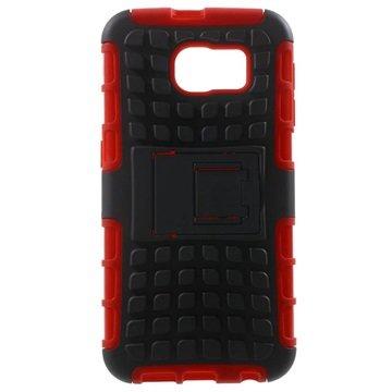 Samsung Galaxy S6 Anti-Slip Hybride Cover Zwart / Rood