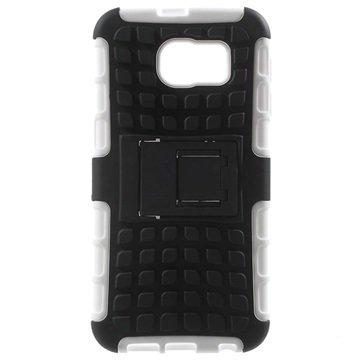 Samsung Galaxy S6 Anti-Slip Hybrid Cover Zwart / Wit