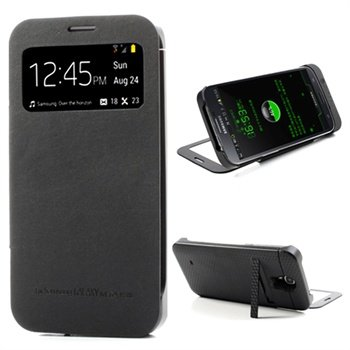 Samsung Galaxy Mega 6.3 I9200 Smart Backup Batterij / Flip Leren Case Zwart