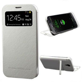 Samsung Galaxy Mega 6.3 I9200 Smart Backup Batterij / Flip Leren Case Wit