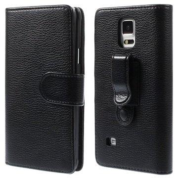 Samsung Galaxy Note 4 Belt Clip Wallet Leren Hoesje Zwart