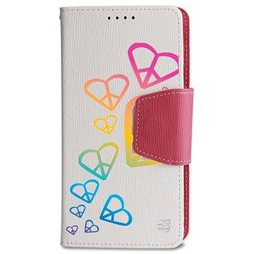 Samsung Galaxy Note 4 Beyond Cell Infolio Design Wallet Leren Hoesje Rainbow Heart