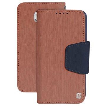 Samsung Galaxy S6 Beyond Cell Infolio Wallet Hoesje Bruin / Donkerblauw
