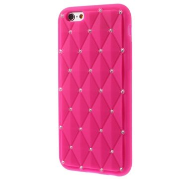 iPhone 6 / 6S Bling Diamond Siliconen Hoesje Hot Pink