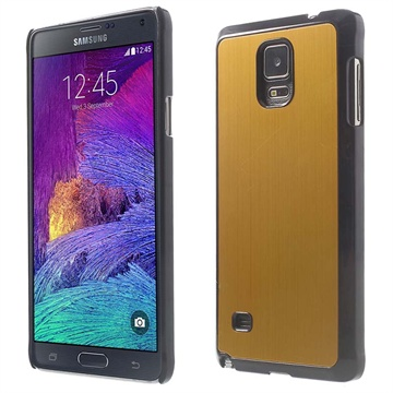 Samsung Galaxy Note 4 Brushed Aluminum Hard Cover Goud