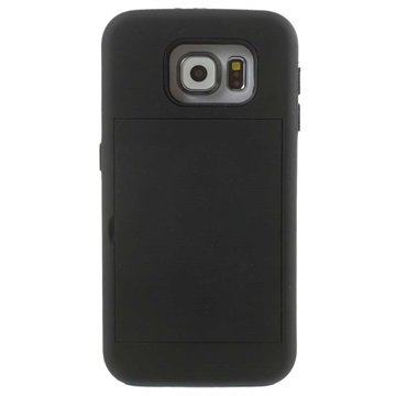 Samsung Galaxy S6 Card Stash Hybrid Cover Zwart