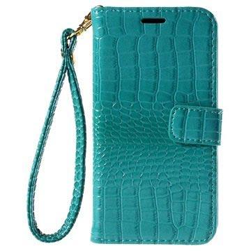 Samsung Galaxy J5 Crocodile Wallet Hoesje Cyan