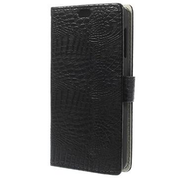 HTC Desire 510 Crocodile Wallet Leren Hoesje Zwart