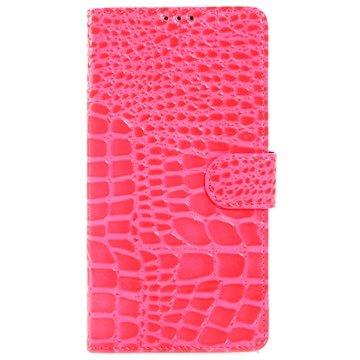 Samsung Galaxy Note 4 Crocodile Wallet Leren Hoesje Hot Pink