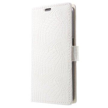 Samsung Galaxy S6 Crocodile Wallet Hoesje Wit