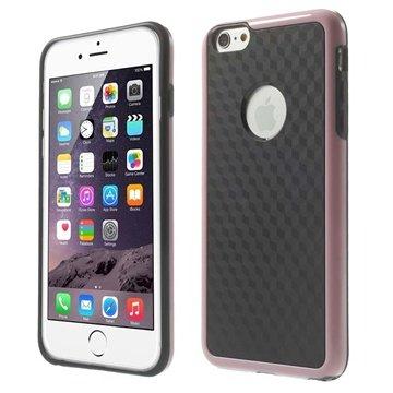 iPhone 6 Plus / 6S Plus Cube Design Hybrid Cover Zwart / Roze