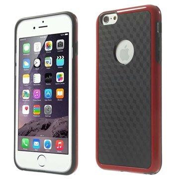 iPhone 6 Plus / 6S Plus Cube Design Hybrid Cover Zwart / Rood