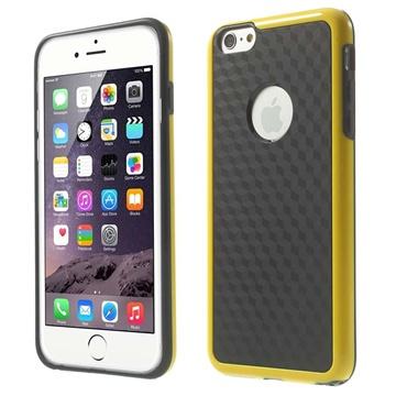 iPhone 6 Plus / 6S Plus Cube Design Hybrid Cover Zwart / Geel