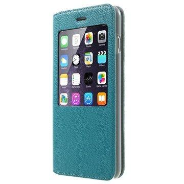 iPhone 6 Plus / 6S Plus Doormoon View Flip Leren Case Blauw