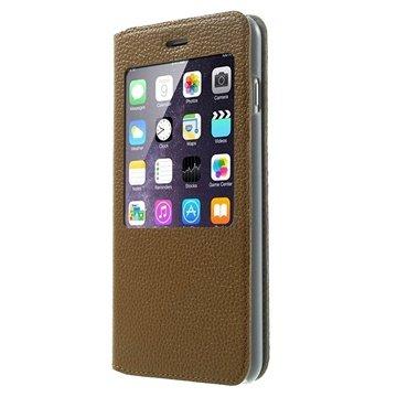 iPhone 6 Plus / 6S Plus Doormoon View Flip Leren Case Bruin