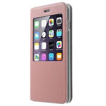 iPhone 6 Plus / 6S Plus Doormoon View Flip Leren Case Roze