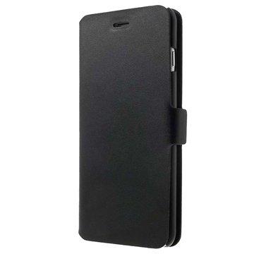 iPhone 6 Plus / 6S Plus Doormoon Wallet Leren Hoesje Zwart