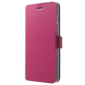 iPhone 6 Plus / 6S Plus Doormoon Wallet Leren Hoesje Hot Pink