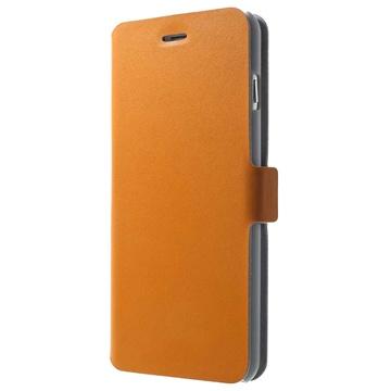 iPhone 6 Plus / 6S Plus Doormoon Wallet Leren Hoesje Oranje