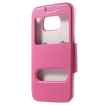 Samsung Galaxy S6 Double View Flip Case Hot Pink