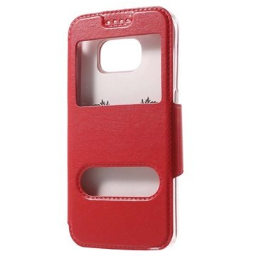 Samsung Galaxy S6 Double View Flip Case Rood