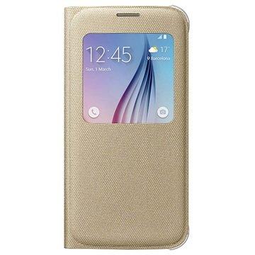 Samsung Galaxy S6 S-View Stoffen Flip Case EF-CG920BF Goud