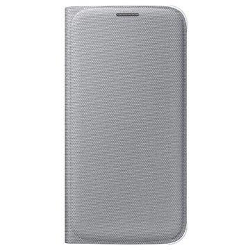 Samsung Galaxy S6 Stoffen Flip Wallet Hoesje EF-WG920BS Zilver