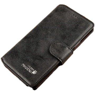 Samsung Galaxy Note 4 Golden Phoenix Retro Wallet Leren Hoesje Zwart