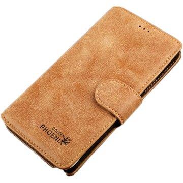 Samsung Galaxy Note 4 Golden Phoenix Retro Wallet Leren Hoesje Bruin