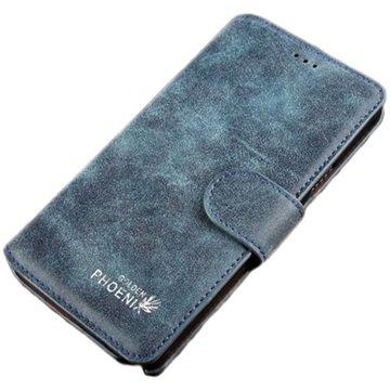 Samsung Galaxy Note 4 Golden Phoenix Retro Wallet Leren Hoesje Donkerblauw