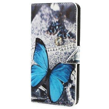 HTC Desire 510 Wallet Leren Hoesje Blauw Vlinder