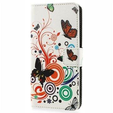 HTC Desire 510 Wallet Leren Hoesje Vlinders / Cirkels