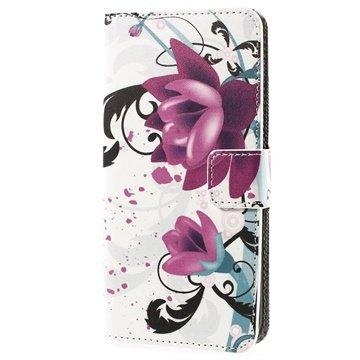 HTC Desire 510 Wallet Leren Hoesje Lotusbloem