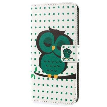 HTC Desire 510 Wallet Leren Hoesje Groen Uil