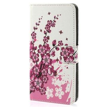HTC Desire 510 Wallet Leren Hoesje Roze Bloemen