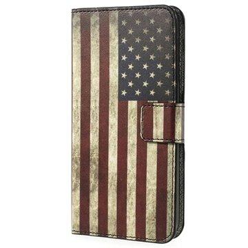 HTC Desire 510 Wallet Leren Hoesje Vintage American Flag