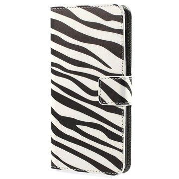 HTC Desire 510 Wallet Leren Hoesje Zebra