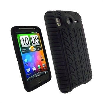 HTC Desire HD iGadgitz Tyre Tread Ontwerp Siliconen Case Zwart