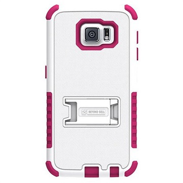 Samsung Galaxy S6 Beyond Cell Tri Shield Hybrid Cover Wit / Hot Pink
