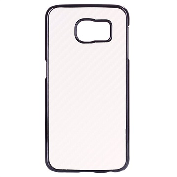 Samsung Galaxy S6 Hard Cover - Carbonvezel Wit