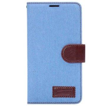 Samsung Galaxy Note 4 Jeans Wallet Leren Hoesje Baby Blauw