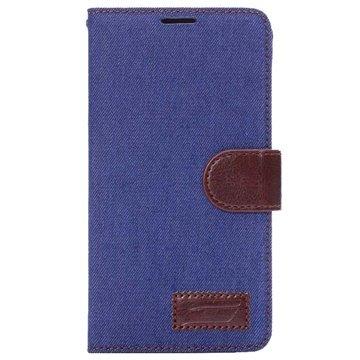 Samsung Galaxy Note 4 Jeans Wallet Leren Hoesje Blauw