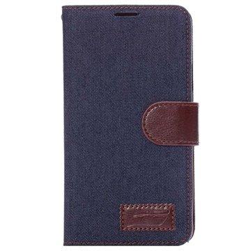 Samsung Galaxy Note 4 Jeans Wallet Leren Hoesje Donkerblauw