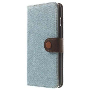 iPhone 6 Plus / 6S Plus Jeans Wallet Leren Hoesje Baby Blauw